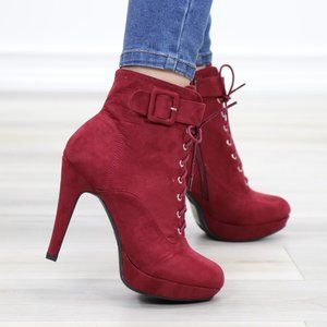 Faux Suede Heel Lace-Up Ankle Booties